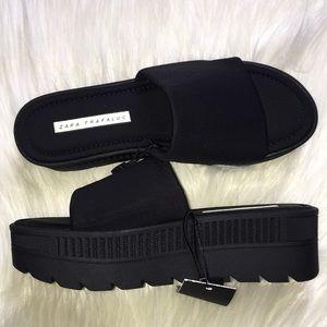 Zara Trafaluc Platform Wedge Sandals